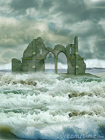 Ruin in the sea