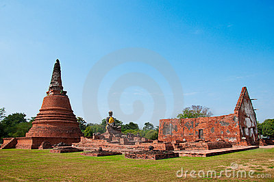 Ruin temple in Ayutthaya historical park, Thailand