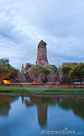 Ruin temple in Ayutthaya with lake horizontal