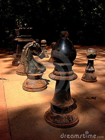 Free Ruined Antique Chessmen Stock Photography - 17554772