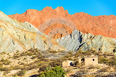 Ruined Building and Colorful Hills