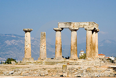 Ruined columns of ancient temple in corinth