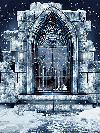 Ruined gate with snow