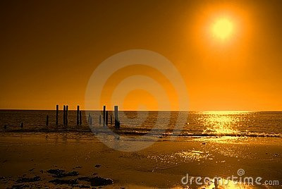 Ruined Jetty, Orange Sky