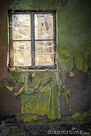 Ruined room in abandoned building