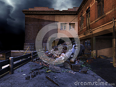 Ruined street at night