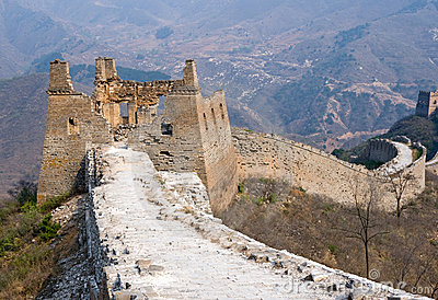 Ruined tower of famous Great Wall