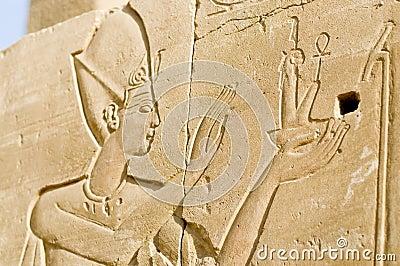 Ruined wall reliefs of Pharoah, Karnak, Egypt.