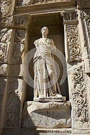 Ruines antiques de ville d Ephesus, course vers la Turquie