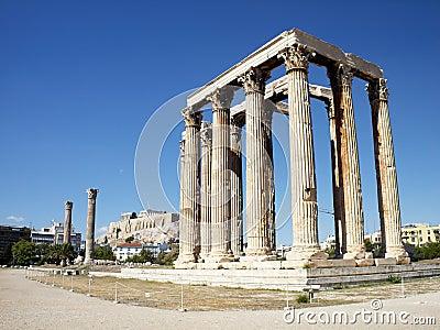Ruines de temple olympique de Zeus
