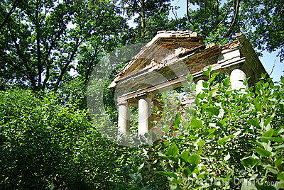 Ruins of ancient building in forest