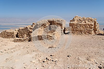 Ruins of ancient Masada fortress on Dead Sea