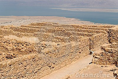 Ruins of ancient Masada fortress nea