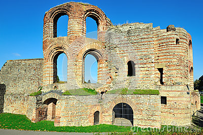 Ruins of ancient Roman Imperial Baths in Trier