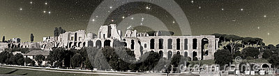 Ruins of Baths of Caracalla under the starry sk