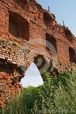 Ruins of Brandenburg castle in Ushakovo