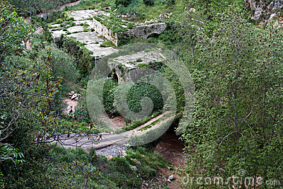 Ruins, Bridge, and Murky River
