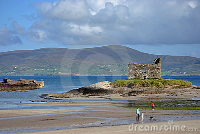 Ruins of castle on the beach. Ireland