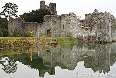 Ruins of castle with reflection