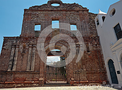 Ruins of church Santo Domingo convent in Panama