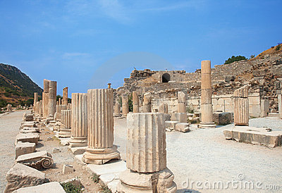 Ruins of columns in ancient city of Ephesus