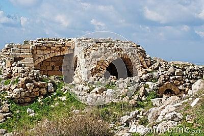 Ruins of crusader castle Bayt Itab, Israel