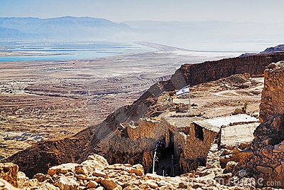 Ruins of fortress Masada and view on the Dead Sea