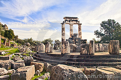 Ruins of Greek temple of Athena in Delphi