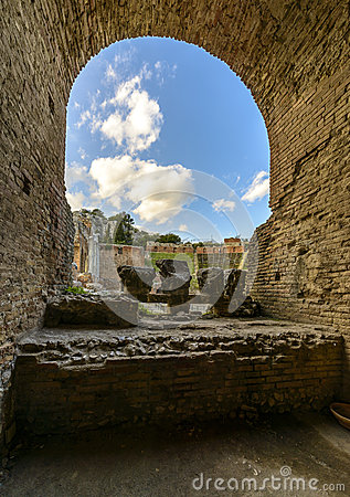 Ruins of Greek theatre in Taormina, Sicily