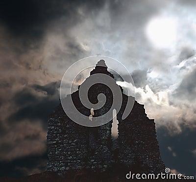 ruins in ireland scene