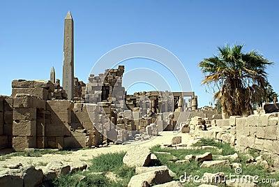 Ruins and obelisk
