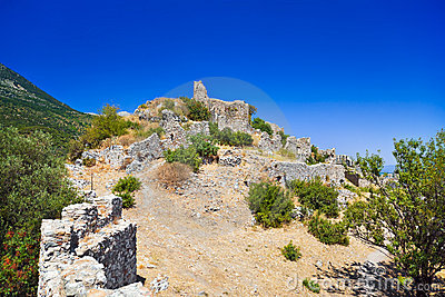 Ruins of old fort in Mystras, Greece