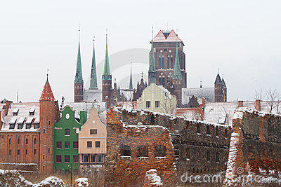 Ruins of old town in Gdansk