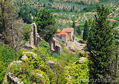 Ruins of old town in Mystras, Greece