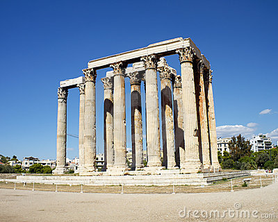 Ruins of Olympian Zeus temple, Greece