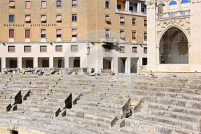 Ruins of Roman amphitheatre downtown in Lecce, Italy Editorial Stock Photo