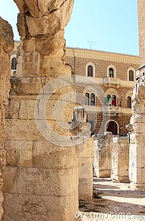 Ruins of Roman amphitheatre, Lecce, Italy