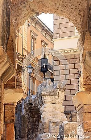 Ruins of Roman amphitheatre in Lecce, Italy