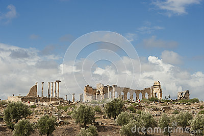 Ruins of the roman city Volubilis in Morocco