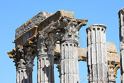 Ruins of the Roman Temple of Evora, Portugal