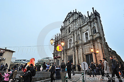 Ruins of St Paul in Macau at night Editorial Photography