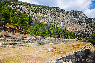 Ruins of stadium in Delphi, Greece