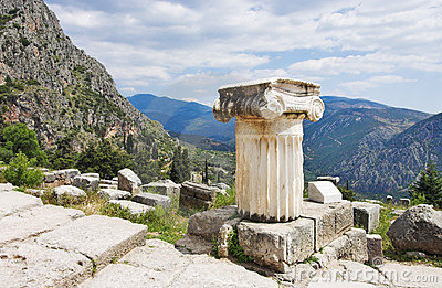 Ruins of the temple of Apollo at Delphi