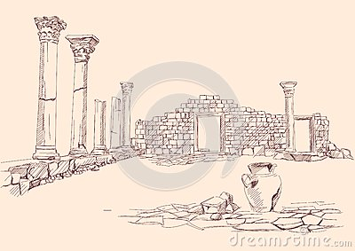Ruins of temple  archaeology hand drawn