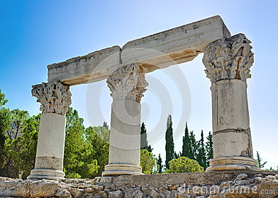 Ruins of temple in Corinth, Greece
