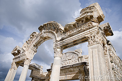 The ruins of the Temple of Hadrian