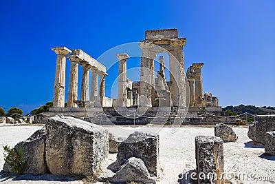 Ruins of temple on island Aegina, Greece