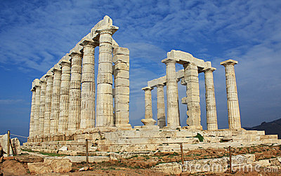 Ruins of Temple of Poseidon in Greece