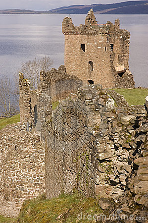 Ruins of Urquhart Castle at Loch Ness in Scotland