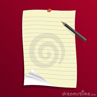 Ruled paper with pencil and pin